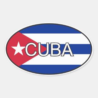 Ovale de drapeau du Cuba Sticker Ovale