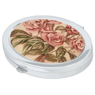 Ovaler kompakter Rosen-Spiegel Taschenspiegel