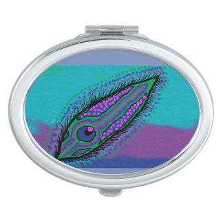 ovaler kompakter Spiegelpfau-Federentwurf Taschenspiegel
