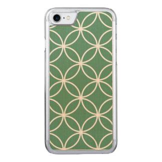 Overlappin kreist weises Grün-Weiß-Muster ein Carved iPhone 8/7 Hülle