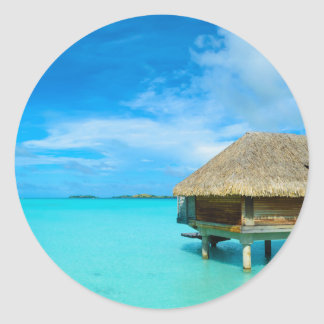 Overwater Bungalow auf Bora Bora Runder Aufkleber