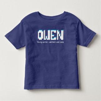 Owen-Jungen Name und Bedeutungspixeltext Kleinkind T-shirt