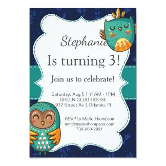 Owl lädt birthday invitation girl ein gehen cute karte