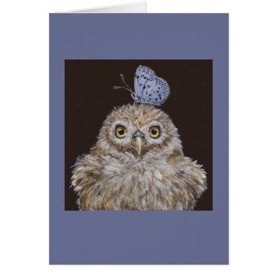 Owlet mit Schmetterlingskarte Karte