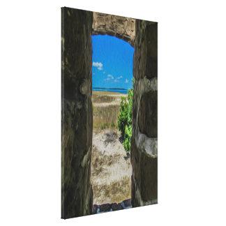 Ozean-Ansicht von der Ziegelstein-Wand-offene Leinwanddruck