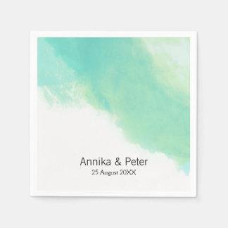 Ozean-Blau-Aquarell-Hochzeit Papierserviette