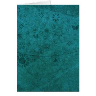 Ozean-Blau-Retro Blumen und Schmetterlinge Karte