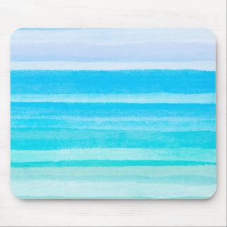 Ozean-Blauaquamariner Watercolor Ombre Streifen Mousepad
