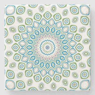 Ozean-Mandala in Blauem und Grau und Weiß Steinuntersetzer