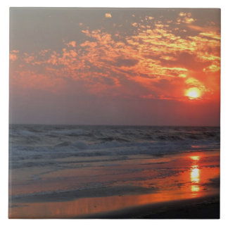 Ozean-Sonnenuntergang - Eichen-Insel, NC Fliese