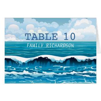 Ozean-Strand bewegt Wedding Tischnummer-Karte Karte