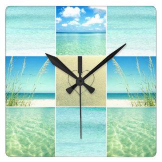 Ozean-Strand-Collagen-Wanduhr Quadratische Wanduhr