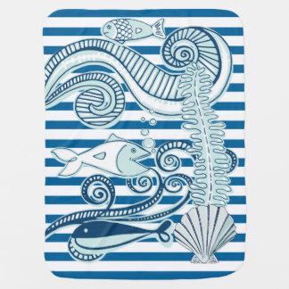 Ozean-und Fisch-blauer und weißer horizontaler Kinderwagendecke