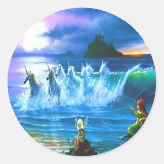 Ozean voll der Einhorn-Aufkleber Runder Aufkleber