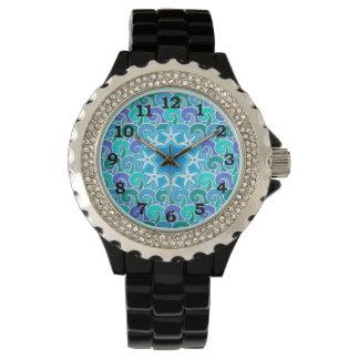 Ozean-Wasser-Wellen-Seestrandstarfish-Blau Uhr