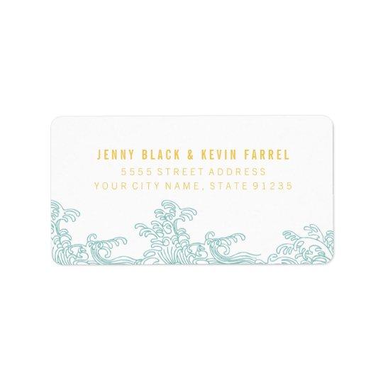 Ozean-Wellen-Adressen-Etiketten - Blau u. Gold Adressaufkleber
