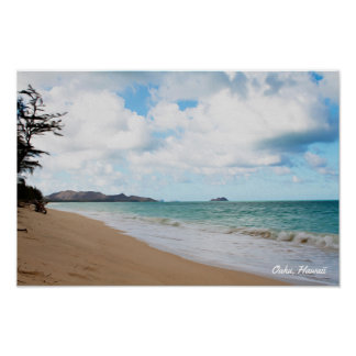 Ozean-Wellen u. Strand Oahus Hawaii Poster