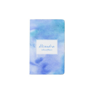 Ozeanblauhandgemaltes gespritzt mit weißem moleskine taschennotizbuch