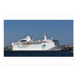 Ozeandampfer-Insel-Entweichen Postkarte