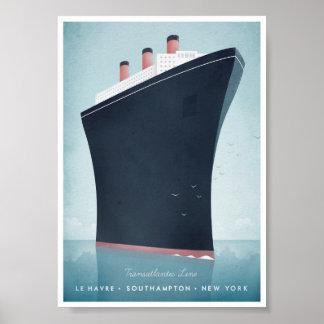 Ozeandampfer-Vintages Reise-Plakat Poster