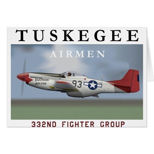 P51D roter Schwanzkämpfer geflogen von Tuskegee Grußkarte