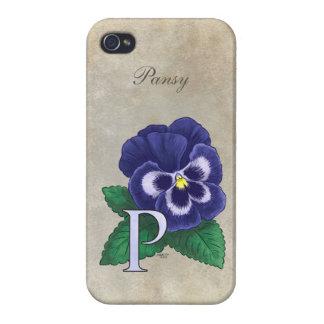 P für Pansy-Blumen-Monogramm Etui Fürs iPhone 4