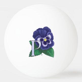 P für Pansy-Blumen-Monogramm Tischtennis Ball