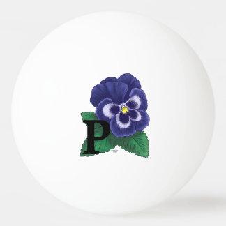 P für Pansy-Blumenalphabet-Monogramm Ping-Pong Ball