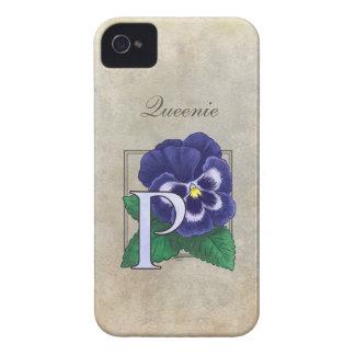 P für Pansy-Blumenmonogramm Case-Mate iPhone 4 Hülle