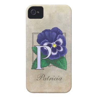 P für Pansy-Blumenmonogramm iPhone 4 Cover