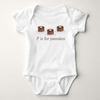 P ist für Pfannkuchen-Buchstabep Flapjack-kurzen Baby Strampler