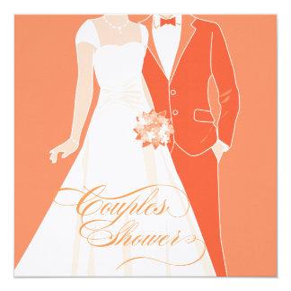 Paar-Duschen-Einladung - Orange Quadratische 13,3 Cm Einladungskarte