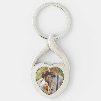 Paar-Foto-Herz Keychain Schlüsselanhänger