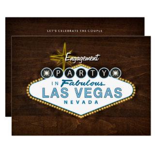 Paar-Las- Vegaszeichen-Verlobungs-Party Einladung