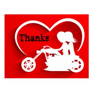 Paar-Reitmotorrad-Dank dankt Ihnen Postkarte