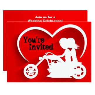 Paar-Reitmotorrad, Herz-Hochzeits-Einladung Karte