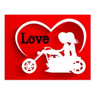 Paar-Reitmotorrad, -herz und -Liebe Postkarte