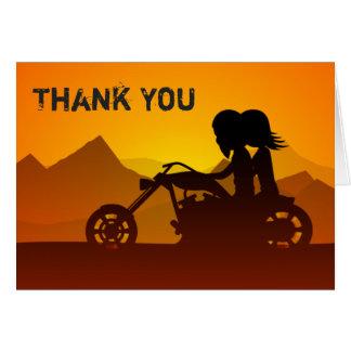 Paar-Reitmotorrad mit Bergen danken Ihnen Mitteilungskarte