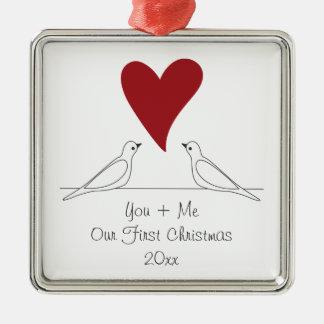 Paar-Vögel im Liebe-rotes Herz-einfachen Silbernes Ornament
