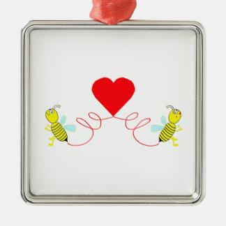 Paare der Bienen Quadratisches Silberfarbenes Ornament