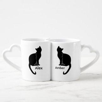 Paare der Katzen-Liebe-Tasse Liebestassen