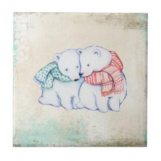 Paare der polaren Bären des Cartoon Kleine Quadratische Fliese