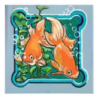 Paare Goldfish und Grüntöne Quadratische 13,3 Cm Einladungskarte