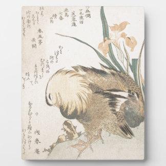 Paare Mandarinen-Enten und Iris-Blumen Fotoplatte