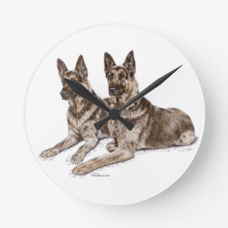 Paare Schäferhund-Hunde Runde Wanduhr