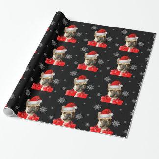 Packpapier der Weihnachtsfranzösischen Bulldogge