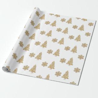 Packpapier faxu Goldschneeflocke und -baum