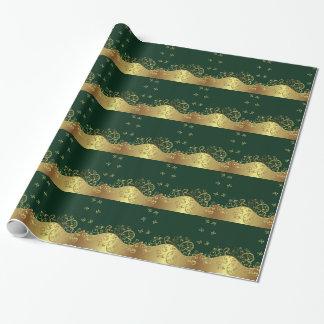 Packpapier--GoldWirbel u. dunkelgrünes Geschenkpapier