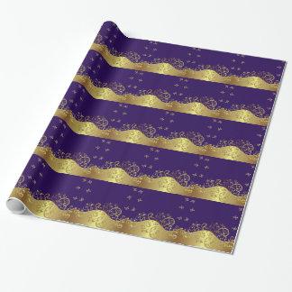 Packpapier--GoldWirbel u. dunkles Lila Einpackpapier