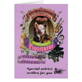 Paganini Parodie Piggienini Tierkomponist-Ferkel Grußkarte